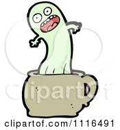 Clipart Green Halloween Spook Ghost In A Cup Royalty Free Vector Illustration