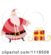 Clipart Christmas Santa Claus Presenting A Gift Royalty Free Vector Illustration by lineartestpilot