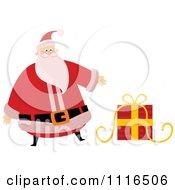 Clipart Christmas Santa Claus Presenting A Gift Royalty Free Vector Illustration