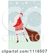 Clipart Retro Christmas Santa Claus Pulling A Sack Through Snow Royalty Free Vector Illustration by lineartestpilot