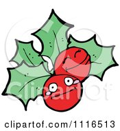 Clipart Christmas Holly Berry Characters 1 Royalty Free Vector Illustration