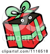 Clipart Eyes In A Christmas Present Gift Box 1 Royalty Free Vector Illustration
