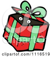 Clipart Eyes In A Christmas Present Gift Box 2 Royalty Free Vector Illustration