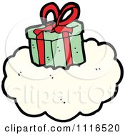 Clipart Christmas Present Gift Box On A Cloud Royalty Free Vector Illustration