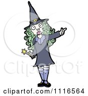 Clipart Green Haired Halloween Witch Pointing Royalty Free Vector Illustration by lineartestpilot