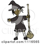 Clipart Black Halloween Witch Girl Holding A Broom Royalty Free Vector Illustration by lineartestpilot