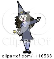 Clipart Brunette Halloween Witch Pointing Royalty Free Vector Illustration by lineartestpilot