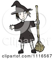 Clipart Halloween Witch Girl Holding A Broom Royalty Free Vector Illustration by lineartestpilot
