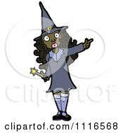 Clipart Black Halloween Witch Pointing Royalty Free Vector Illustration by lineartestpilot