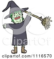 Clipart Halloween Witch Holding Up A Broom 1 - Royalty Free Vector Illustration by lineartestpilot #COLLC1116570-0180