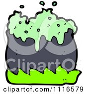 Clipart Boiling Witch Cauldron With Green Flames 2 Royalty Free Vector Illustration