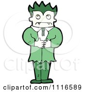 Clipart Green Haired Halloween Vampire Thinking Royalty Free Vector Illustration