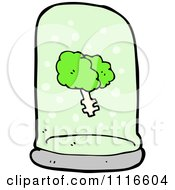 Clipart Green Brain Floating In A Specimen Jar 2 Royalty Free Vector Illustration by lineartestpilot