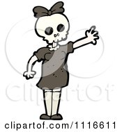 Clipart Girl Wearing A Skull Halloween Mask 3 Royalty Free Vector Illustration by lineartestpilot