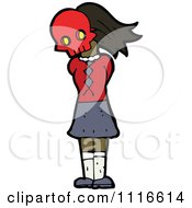 Clipart Girl Wearing A Skull Halloween Mask 6 Royalty Free Vector Illustration by lineartestpilot