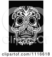 White Ornate Day Of The Dead Human Skull On Black