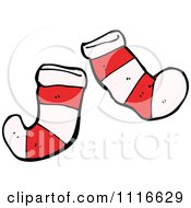 Clipart Striped Christmas Stockings Royalty Free Vector Illustration