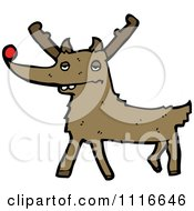 Clipart Red Nosed Christmas Reindeer 1 Royalty Free Vector Illustration by lineartestpilot