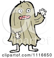 Clipart Brown Hairy Halloween Monster Waving Royalty Free Vector Illustration