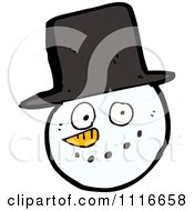 Clipart Christmas Winter Snowman Face With A Top Hat Royalty Free Vector Illustration by lineartestpilot
