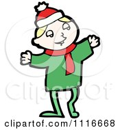 Clipart Happy White Christmas Elf Royalty Free Vector Illustration by lineartestpilot