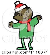 Clipart Happy Black Christmas Elf Royalty Free Vector Illustration by lineartestpilot