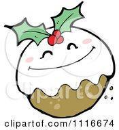 Clipart Christmas Pudding Character 2 Royalty Free Vector Illustration by lineartestpilot