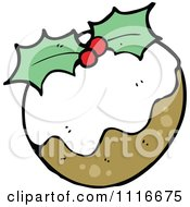 Clipart Christmas Plum Pudding With Holly 1 Royalty Free Vector Illustration by lineartestpilot