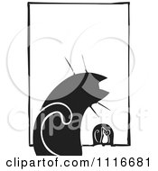 Vector Clipart Of A House Cat Watching A Mouse At A Hole Black And White Woodcut Royalty Free Graphic Illustration by xunantunich