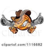 Clipart Wild West Cowboy Basketball Bandit Shooting Pistols Royalty Free Vector Illustration by Chromaco