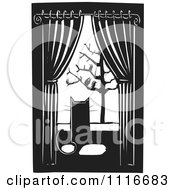 Vector Clipart  House Cat Watching Birds Through A Window Black And White Woodcut  Royalty Free Graphic Illustration