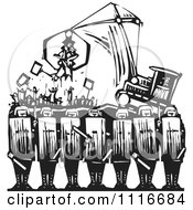 Vector Clipart  Syrian Security With Protestors Being Attached By A Tractor Black And White Woodcut  Royalty Free Graphic Illustration