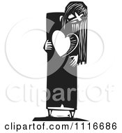 Woman With A Heart Shaped Hole Black And White Woodcut