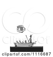 Vector Clipart  The Whales Eye Above Moby Dick In A Boat Black And White Woodcut  Royalty Free Graphic Illustration