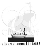 Vector Clipart  Moby Dick And Boat Black And White Woodcut  Royalty Free Graphic Illustration by xunantunich