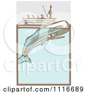 Vector Clipart  Moby Dick In A Boat By The Whale Woodcut  Royalty Free Graphic Illustration