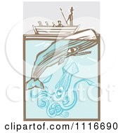 Vector Clipart  Moby Dick In A Boat By The Whale And Giant Squid Woodcut  Royalty Free Graphic Illustration