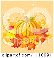 Vector Clipart Of A Halloween Thanksgiving Pumpkin With Autumn Leaves On Grunge Royalty Free Graphic Illustration