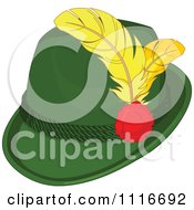 Vector Clipart Of A Green Bavarian Tyrolean Fedora Hat With Feathers Royalty Free Graphic Illustration