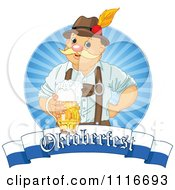 Vector Clipart Of A Happy Oktoberfest Man Holding Beer Over A Banner Royalty Free Graphic Illustration