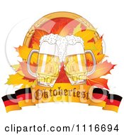 Vector Clipart Of An Oktoberfest Beer Mugs And Autumn Leaves With Wheat Over A German Banner Royalty Free Graphic Illustration by Pushkin