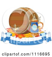 Vector Clipart Of An Oktoberfest Beer Keg And Stein With Autumn Leaves Over A Banner Royalty Free Graphic Illustration by Pushkin