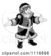 Vector Clipart Of A Black And White Christmas Santa With Open Arms Royalty Free Graphic Illustration