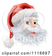 Vector Clipart Of A Jolly Christmas Santa Face With A Hat Royalty Free Graphic Illustration
