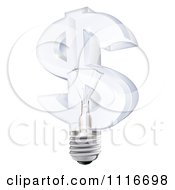 Vector Clipart 3d Glass Dollar Symbol Light Bulb Royalty Free Graphic Illustration
