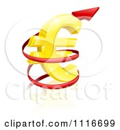 Vector Clipart 3d Increase Spiraling Red Arrow Around A Golden Euro Currency Symbol Royalty Free Graphic Illustration by AtStockIllustration