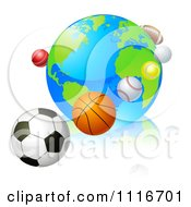 Vector Clipart 3d Earth Globe With Sports Balls In Orbit Around It Royalty Free Graphic Illustration by AtStockIllustration