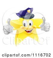 Vector Clipart 3d Police Star Mascot Holding Two Thumbs Up Royalty Free Graphic Illustration