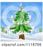 Vector Clipart Of A Christmas Scene Of A Flocked Evergreen Tree In A Hilly Snow Landscape Royalty Free Graphic Illustration