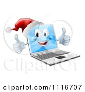 Vector Clipart Of A 3d Black Friday Christmas Laptop Mascot Wearing A Santa And Holding Two Thumbs Up Royalty Free Graphic Illustration